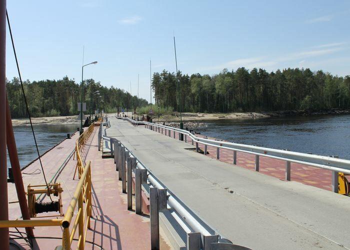 Открыт наплавной мост через р. Лямин